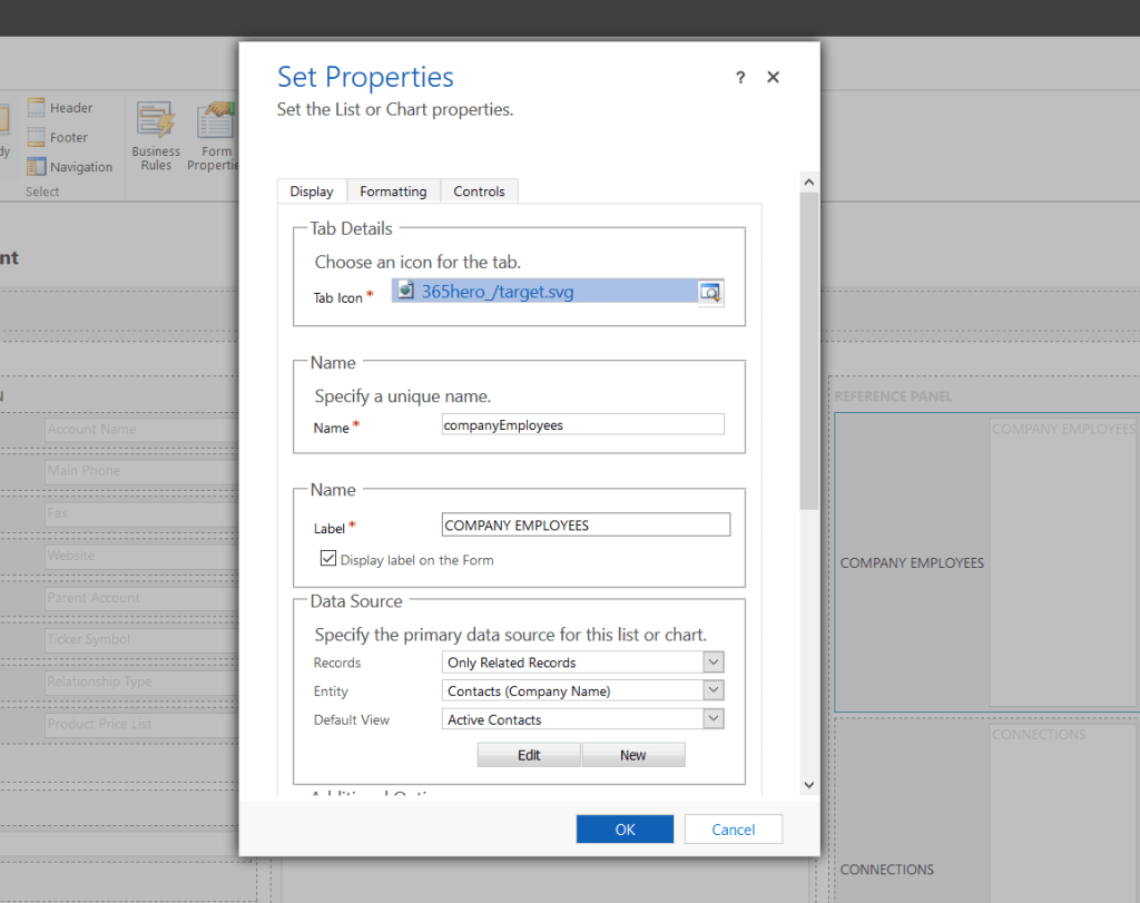 Reference Panel Configure