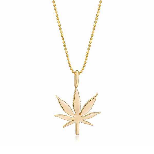 Kind Fine Jewelry 14kt Yellow Gold Small Cannabis Leaf Necklace
