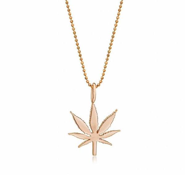 Kind Fine Jewelry 14k Rose Gold Small Cannabis Leaf Necklace