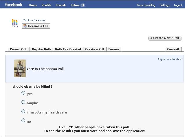Social Media Assassination Poll for Obama Posted on Facebook
