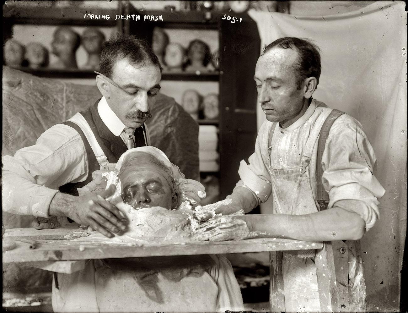 New York circa 1908. Making a plaster death mask