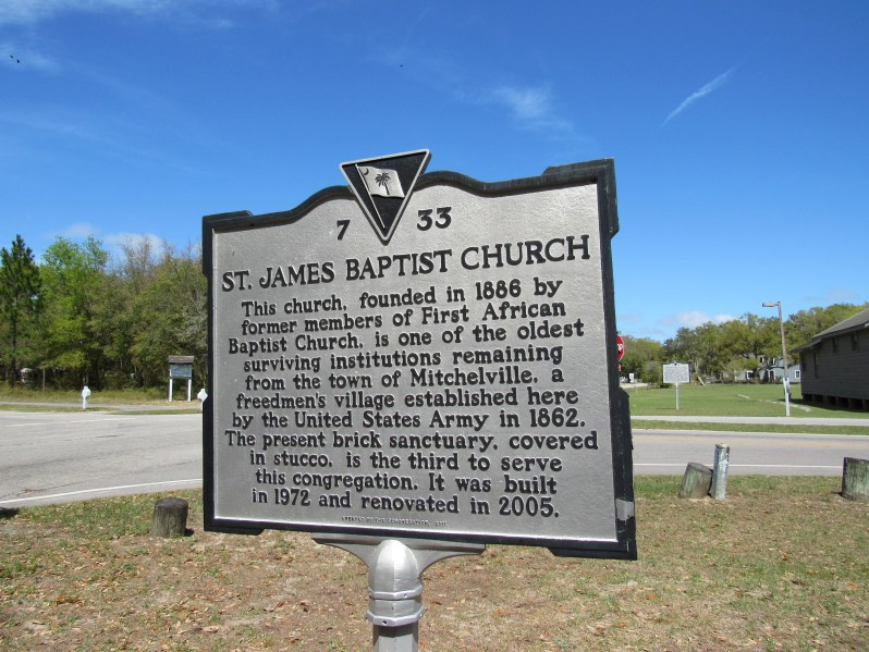 Historical marker for St. James Baptist Church