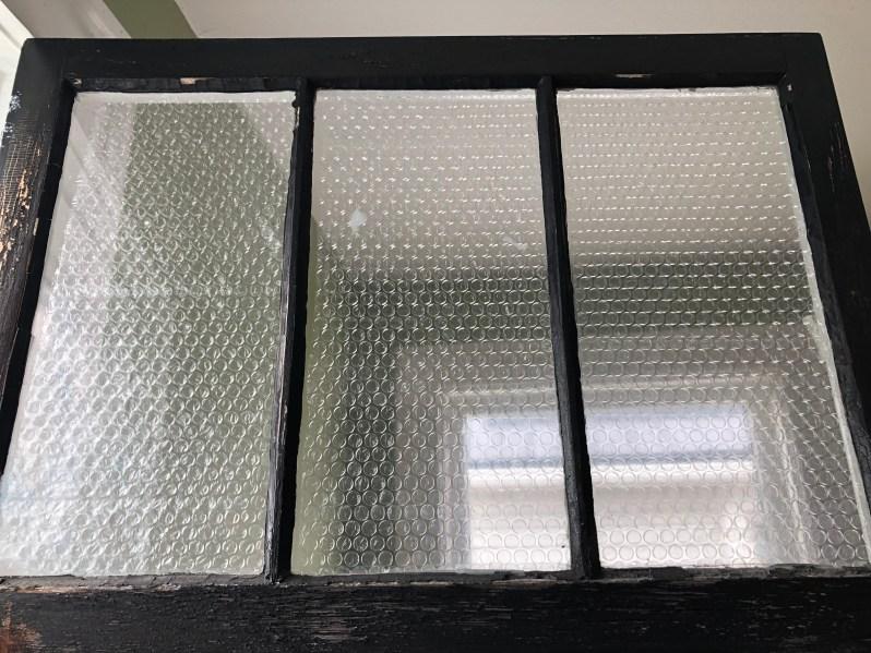 Bubble wrap on window