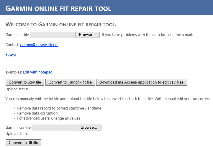 Garmin Online Fit File Repair Tool Review