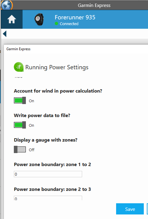 Running Power App Settings Garmin Express