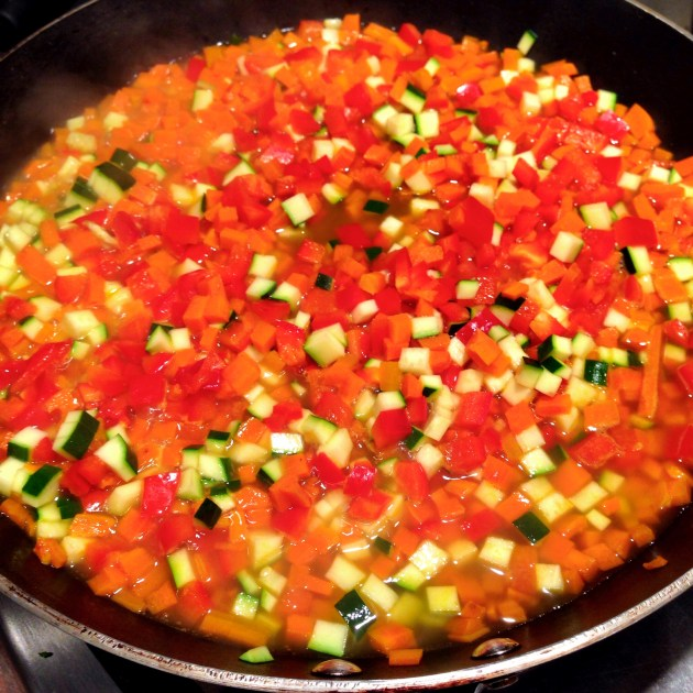 Sauteing Carrots, Red Peppers, Zucchini
