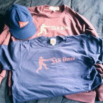 """According to Ebbets Field Flannels, their Red Ball Collection was """"Inspired by the mini-pennants given away with Red Ball gum in the mid-1930s. Historically-accurate artwork combines with American-made vintage apparel."""" Due to my fascination with the PCL Padres and how much I love Ebbets and their products, I absolutely had to get my hands on this Padres cap, sweatshirt and t-shirt."""