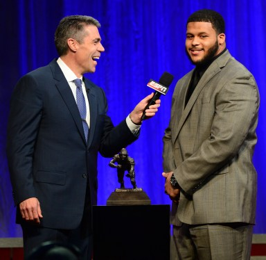 ESPN's Chris Fowler interviews Outland Trophy winner Aaron Donald of Pittsburgh during the Home Depot College Football Awards Show on Dec. 12, 2013. The FWAA awards the Outland Trophy to the best interior lineman in college football. Earlier in the week, Donald also won the FWAA's Bronko Nagurski Award as the nation's best defensive player. Photo courtesy of ESPN.