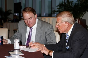FWAA Eddie Robinson Coach of the Year Gary Patterson of TCU and former Notre Dame Coach Lou Holtz, a two-time winner of the award. Melissa Macatee photo.
