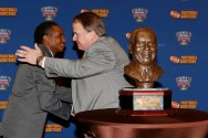 Coach of the Year Gary Patterson of TCU accepts congratulations from Eddie Robinson III. (Melissa Macatee photo)