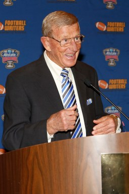 Two time Coach of the Year Award Winner Lou Holtz speaks at the FWAA Eddie Robinson Coach of the Year Award reception on Jan. 10, 2015, in Dallas. (Melissa Macatee photo)