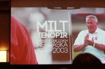 Former Nebraska offensive line coach Milt Tenopir, recipient of the first Tom Osborne Legacy Award, on the big screen at the Outland Trophy banquet Jan. 15 in Omaha.
