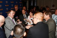 Reporters surround TCU Coach Gary Patterson on Jan. 10, 2015, in Dallas, where Patterson received the FWAA Eddie Robinson Coach of the Year Award. (Melissa Macatee photo)