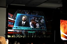 Temple linebacker Tyler Matakevich on the big screen as the finalists for the Bronko Nagurski Trophy were introduced. Photo by Ron J.Deshaies/Treasured Events of Charlotte.