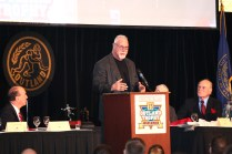 Randy White, who won the 1974 Outland Trophy while at Maryland, addresses the audience at the presentation banquet. Photo provided by the Greater Omaha Sports Committee.