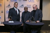 2015 Outland Trophy winner Joshua Garnett of Stanford, former Nebraska star Johnny Rogers and 1974 Outland winner Randy White, who received his trophy at the banquet on Jan. 14 in Omaha. Photo provided by the Greater Omaha Sports Committee.