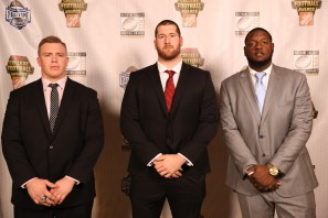 2016 Outland Trophy finalists (left to right): Pat Elflein of Ohio State, Cody O'Connell of Washington State and Cam Robinson of Alabama. (Photo by Allen Kee / ESPN Images)