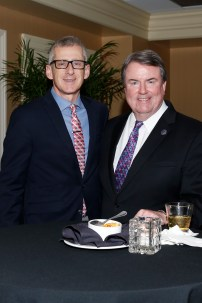 George Schroeder, FWAA president in 2009, and Steve Hatchell, president and CEO of the National Football Foundation, at the FWAA's Past Presidents Dinner on Jan. 6, 2017, in Tampa. Photo by Melissa Macatee.