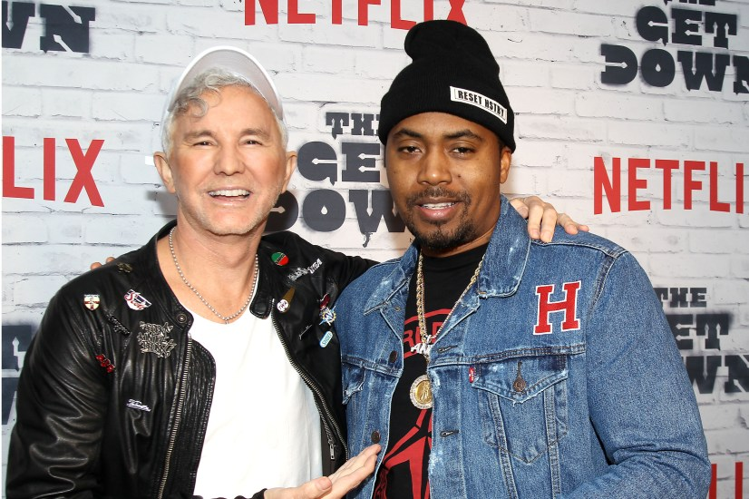 """- New York, NY - 4/5/17 - Netflix New York Kickoff Party for Part Two of """"The Get Down"""" -Pictured: Baz Luhrmann, NaS -Photo by: Patrick Lewis/Starpix -Location: Irving Plaza"""