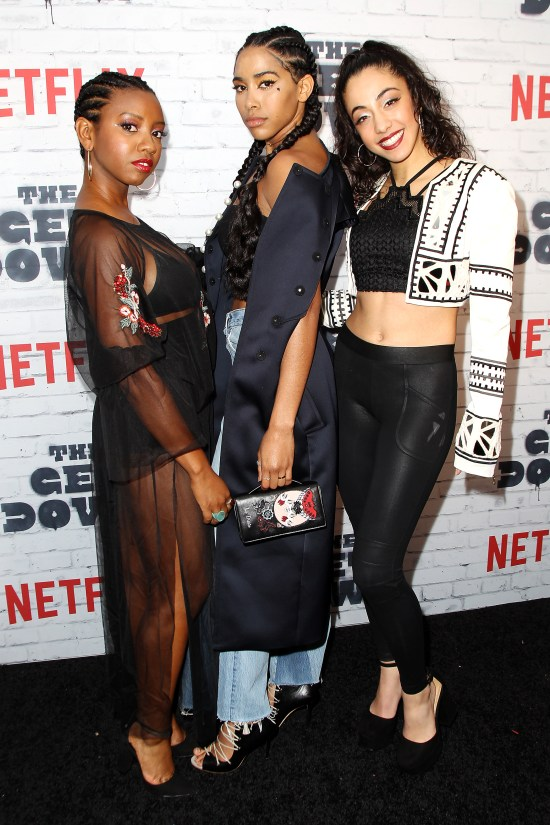 """- New York, NY - 4/5/17 - Netflix New York Kickoff Party for Part Two of """"The Get Down"""" -Pictured: Stefanee Martin, Herizen Guardiola, Shryley Rodriguez -Photo by: Patrick Lewis/Starpix -Location: Irving Plaza"""