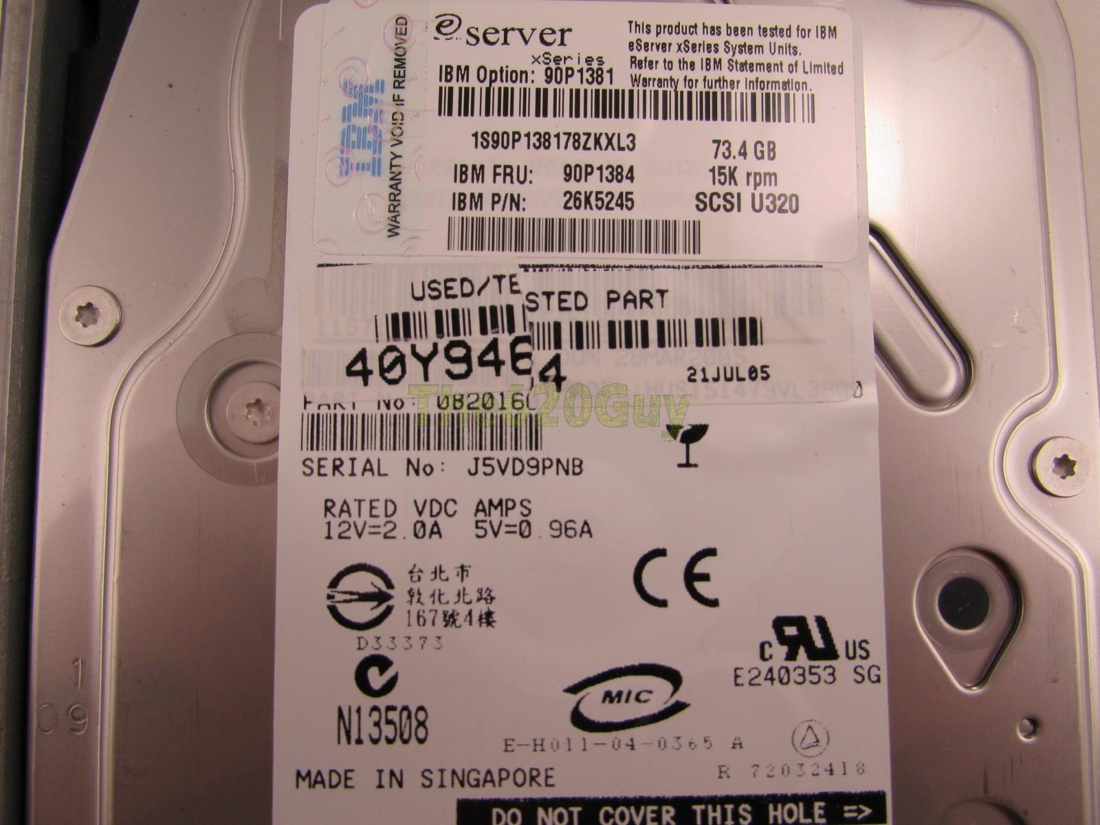 IBM 90P1384 73GB 15K U320 3.5 HDD