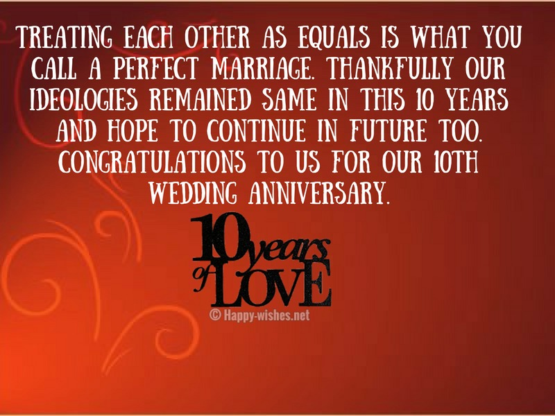10th Wedding Anniversary Wishes Quotes Messages