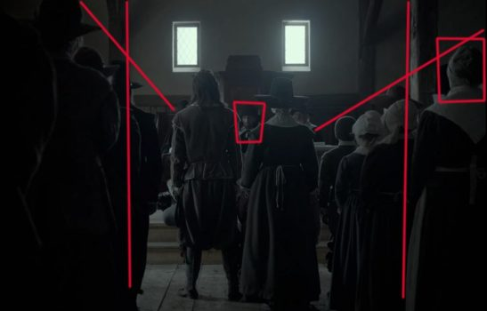 The red lines through the master shot give an example of converging lines while the boxes signify background and foreground subjects.