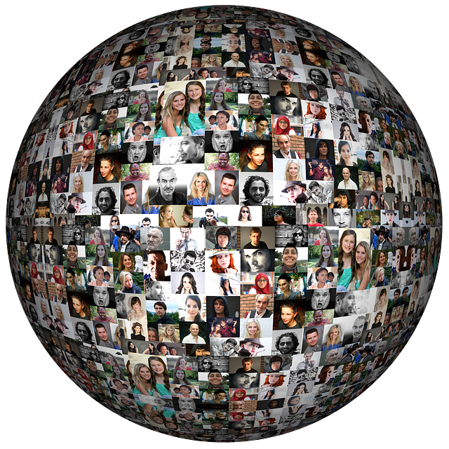 a globe shape formed by hundreds of photos of faces
