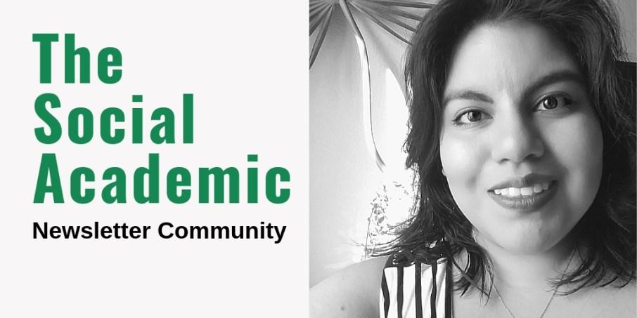 The Social Academic newsletter community with headshot of Jennifer