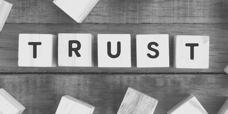 """Trust"" spelled out on blocks"