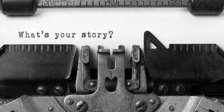 "Word ""what's your story?"" on a typewriter"