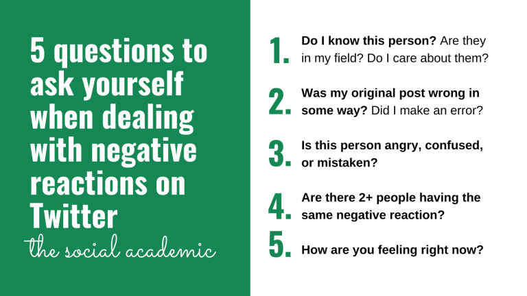 5 questions to ask yourself when dealing with negative reactions on Twitter from The Social Academic: 1. Do I know this person? Are they in my field? Do I care about them? 2. Was my original post wrong in some way? Did I make an error? 3. Is this person angry, confused, or mistaken? 4. Are there 2+ people having the same negative reaction? 5. How are you feeling right now?