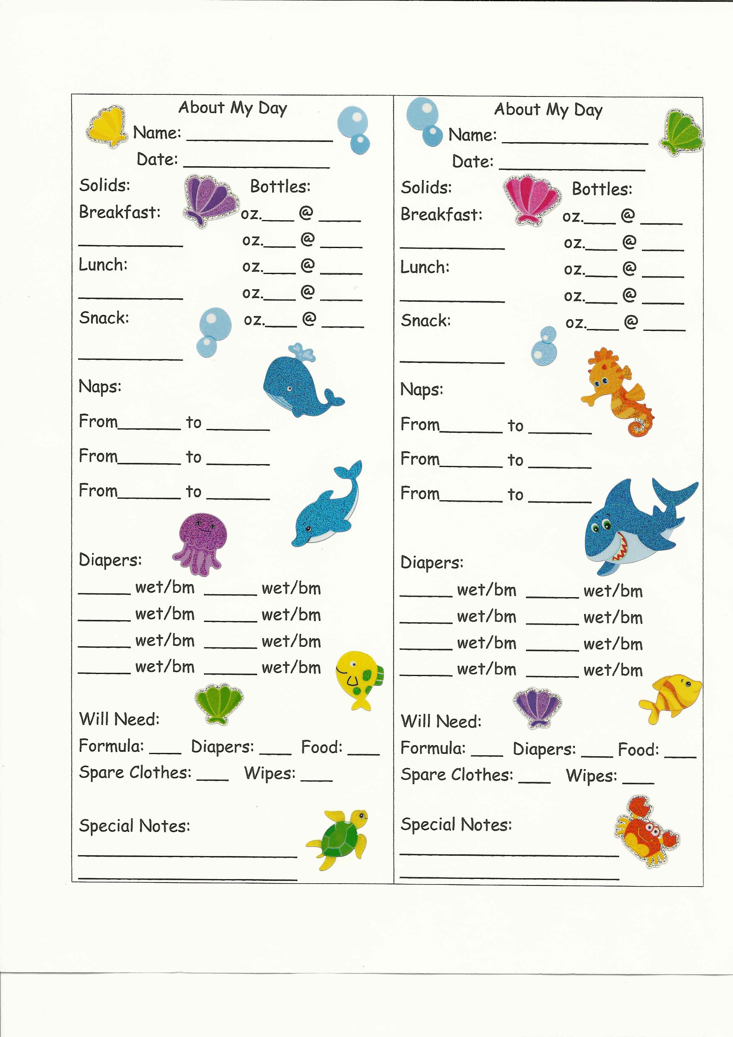 Infant Toddler Daily Report Sheet