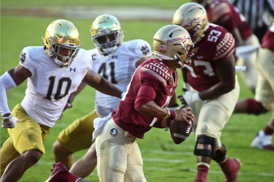 Notre Dame linebacker Isaiah Pryor (10) pressures Florida State quarterback Jordan Travis (13) into throwing an incomplete pass in the first quarter of an NCAA college football game Sunday, Sept. 5, 2021, in Tallahassee, Fla. (AP Photo/Phil Sears)