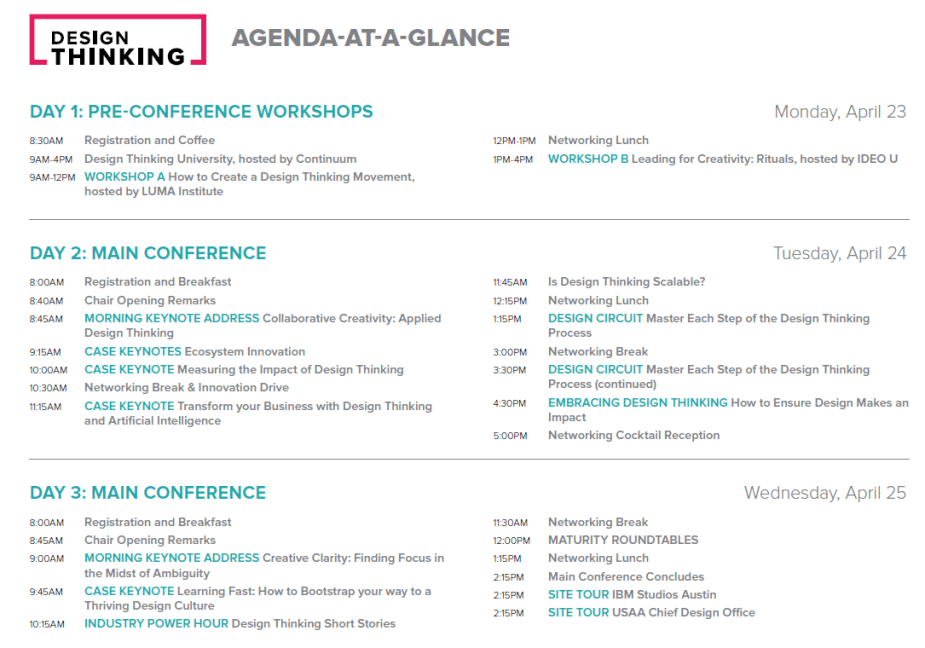 Design Thinking Conference Agenda