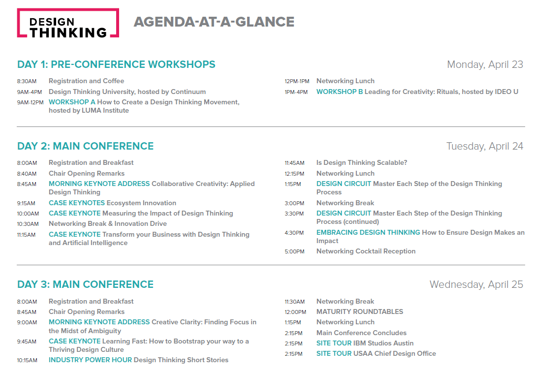 Design Thinking Conference Agenda - The Accidental Design Thinker