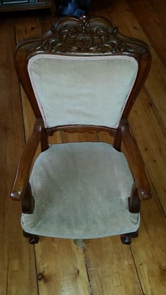 Ethel's chair before work began