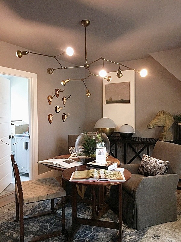 Decorating Small Spaces Like the Pros, #sittingrooms #darkwalls #chandeliers #mountainliving #showhouses