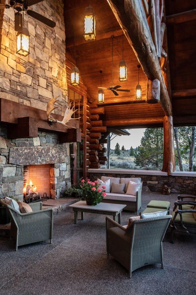 outdoor spaces, montana homes, luxury log cabins, interior design