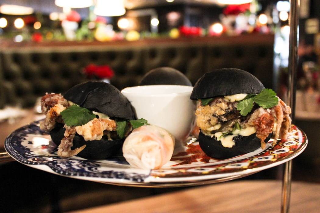 Soft shell crab burgers and confit duck cold rolls