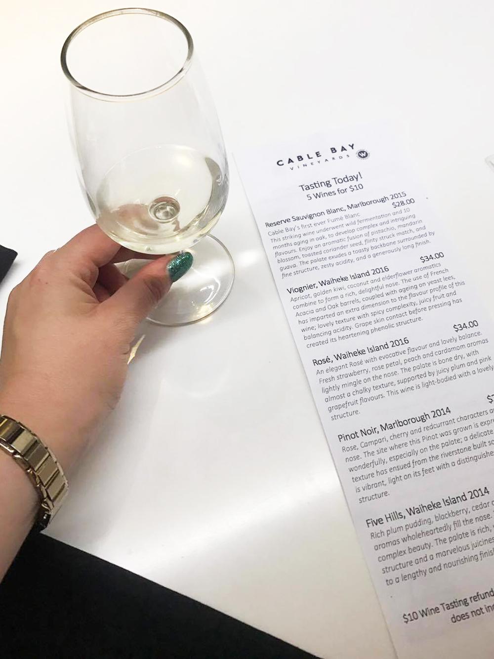 Cable Bay's list of wine tastings