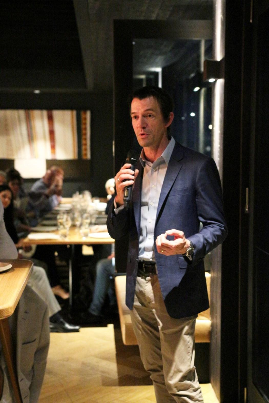Notable wine writer Tyson Stelzer presenting 2KW's Pol Roger dinner.