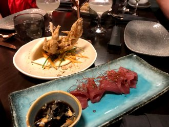 Soft shell crab and yellowfin tuna sashimi. MBER LONDON.