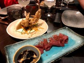 Soft shell crab and yellowfin tuna sashimi. MBER LONDON.