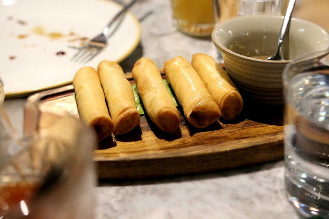 Smoked fish spring rolls at Romulo Cafe.