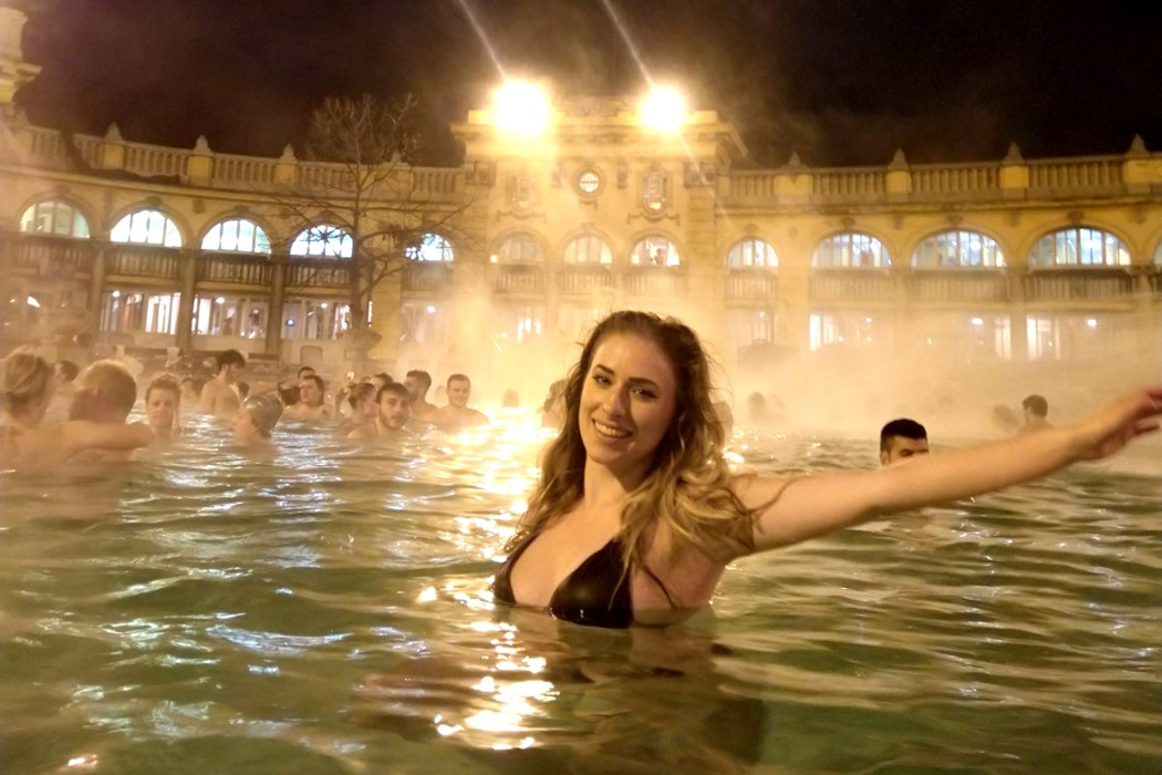 melissa zahorujko thermal baths budapest winter