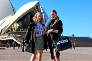 Slogan tees and cinched waists at the Sydney Opera House