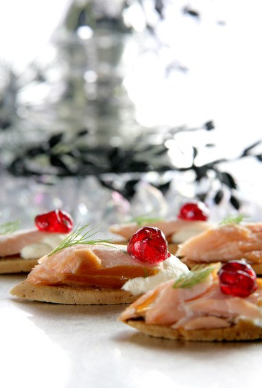 Hot smoked Brannon Ross Salmon with creamed Horseradish on Cranberry Biscotti