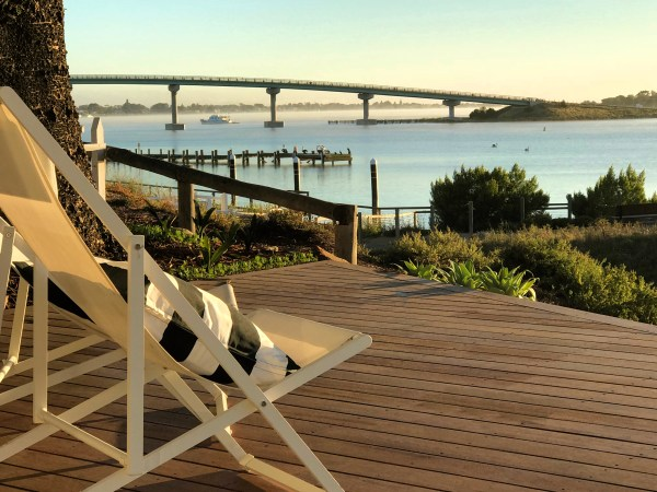Deck & views looking towards Hindmarsh Island Bridge - The Admiral Riverside, Goolwa