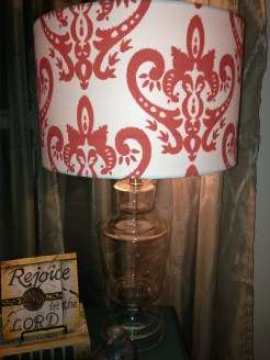 Up close view of bedroom side table lamp from Hobby Lobby